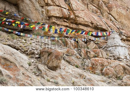 Colorful Buddhist Prayer Flags In Ladakh, India