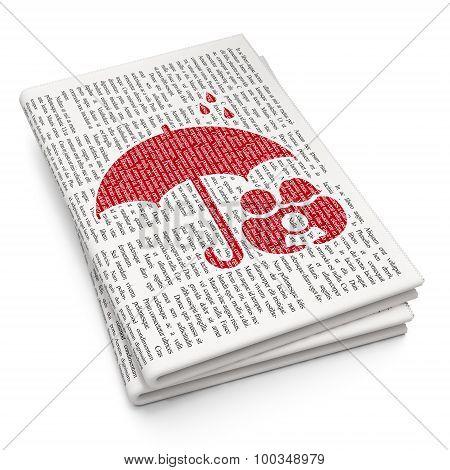 Umbrella on Newspaper background