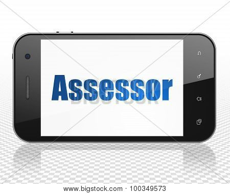 Insurance concept: Smartphone with Assessor on display