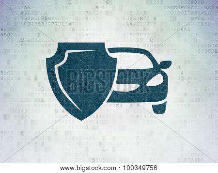 Insurance concept: Car Insurance on Digital Paper background
