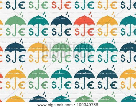 Insurance concept: Business Insurance icons on wall background