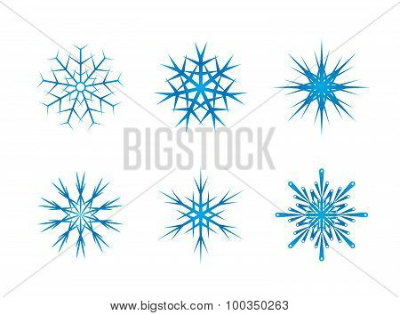 Blue frozen set of snowflakes isolated on white background.