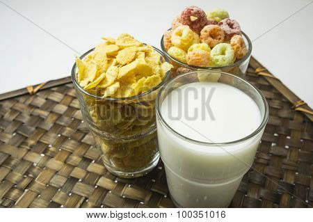 Cereal Cornflakes Milk Breakfast Meal Drink Bowl Concept