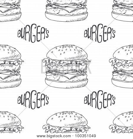 Seamless pattern with hand drawn burger, cheeseburger or hamburger. Wrapping paper