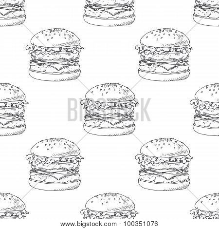 Seamless pattern with sketched burger, cheeseburger or hamburger. Background for fast food restauran