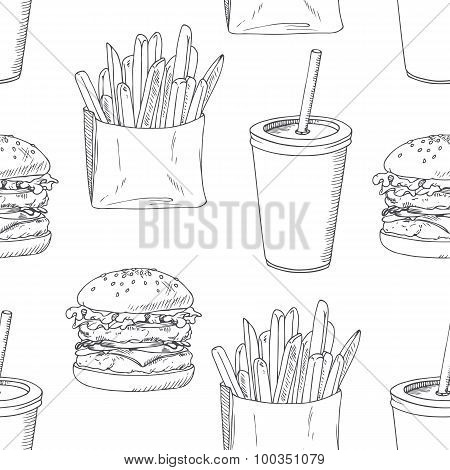 Seamless pattern with sketched burger, french fries and milk shake. Background for fast food restaur