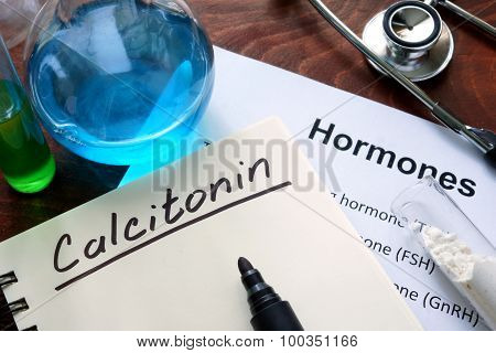 Hormone  calcitonin written on notebook.