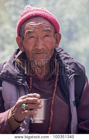 Tibetan Buddhist Old Men In Hemis Monastery. Ladakh, North India
