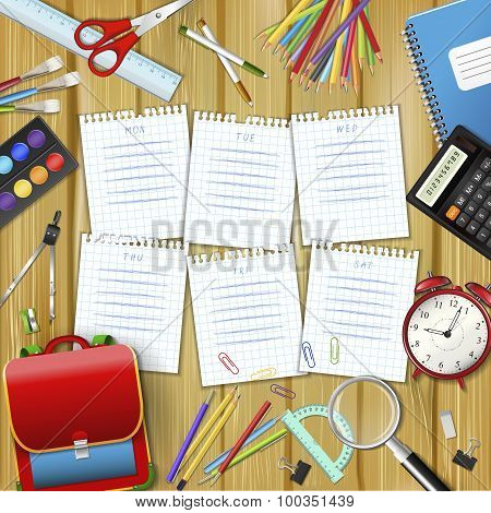 School Timetable On Sheets Of Checkered Paper With Supplies Tools
