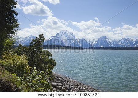 Jackson Lake Below The Grand Teton Mountain Range