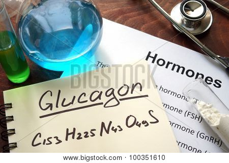 Hormone  glucagon written on notebook.
