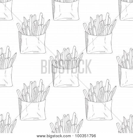Seamless pattern with hand drawn french fries. Sketched fast food