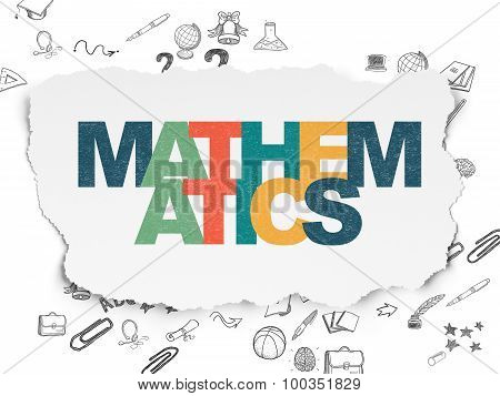 Studying concept: Mathematics on Torn Paper background
