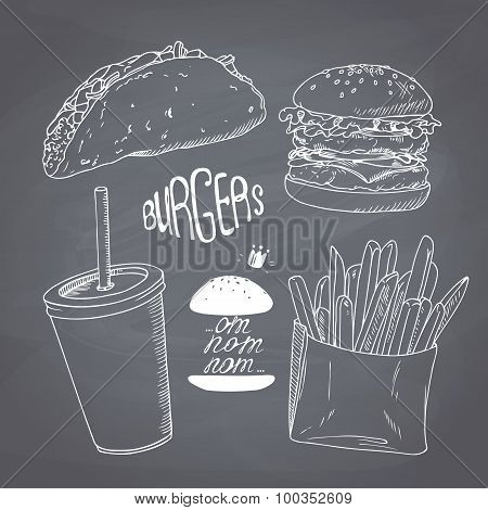 Sketched chalk style fast food set with burger, french fries, taco and paper cup of milk shake. Chal