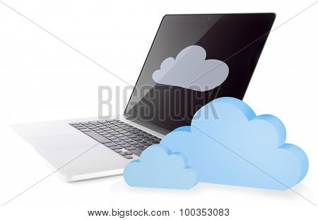 Laptop with clouds. Cloud computing concept