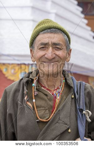 Portrait Old Man On The Street In Leh, Ladakh. India