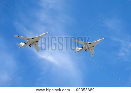 Russian military aircrafts Tu-160 in flight