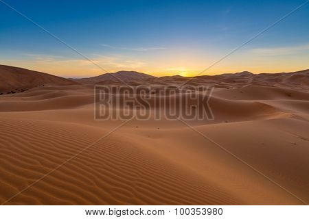 Africa - Erg Chebbi Dunes -  Sahara Desert - at sunrise, in Morocco
