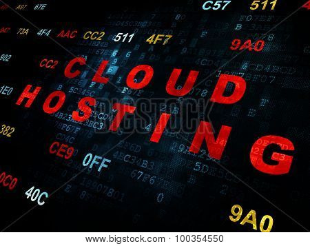 Cloud technology concept: Cloud Hosting on Digital background