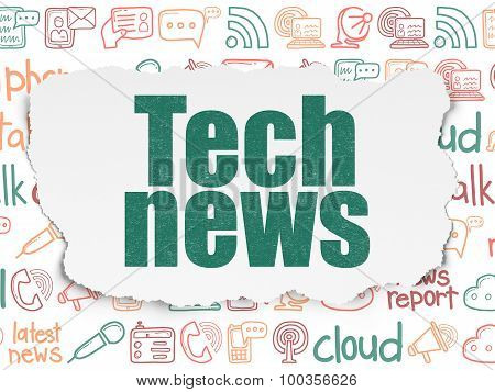 News concept: Tech News on Torn Paper background