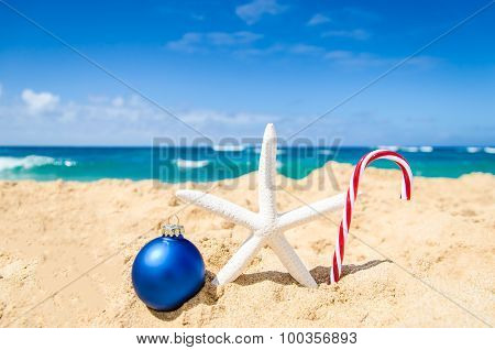 Christmas And Happy New Year Background On The Tropical Beach