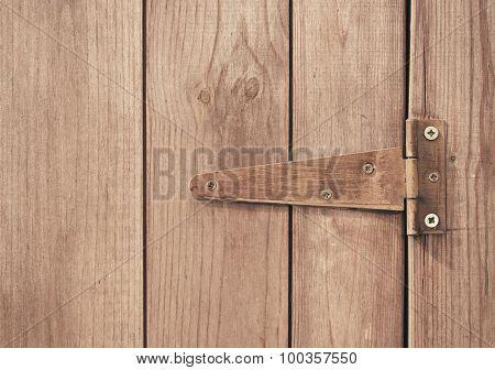 Close up of screwed hinge on door