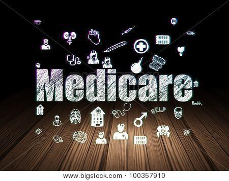 Medicine concept: Medicare in grunge dark room