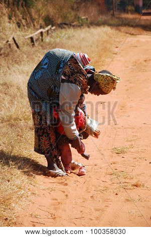 An African Woman With Her Children 05