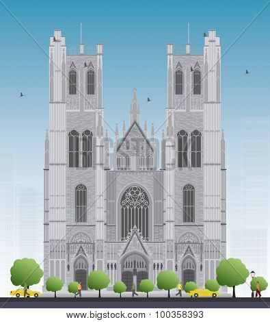 Tall building of the Cathedral of St Michael and St Gudula in the center of Brussels, Belgium