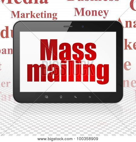 Marketing concept: Tablet Computer with Mass Mailing on display
