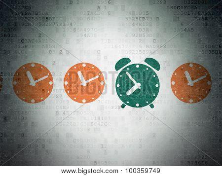 Timeline concept: alarm clock icon on Digital Paper background