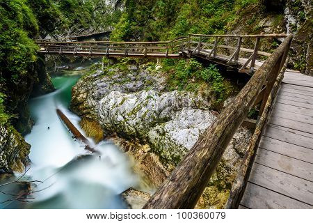 Water Stream And Wooden Path In Vintgar Gorge, Bled, Slovenia