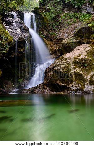 Waterfall In Vintgar Gorge (blejski Vintgar), Bled, Slovenia
