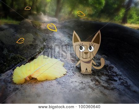 Combination of drawing and pictures - autumn leaves and a cat