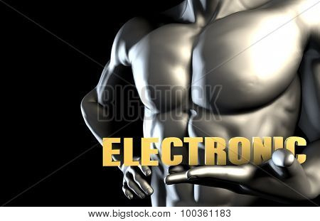 Electronic Music With a Man Holding Up as Concept