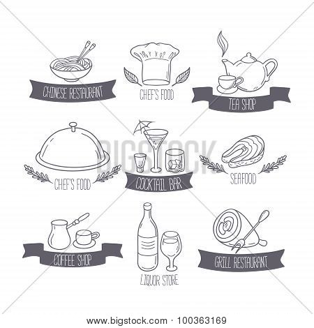 Hand Drawn Food And Drinks Labels Templates For Menu Or Cafe Des
