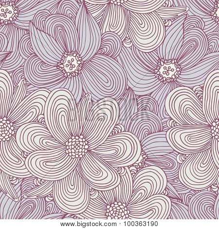 Doodle Style Flowers Seamless Pattern. Floral Textile Background. Fashionable Doodle Print