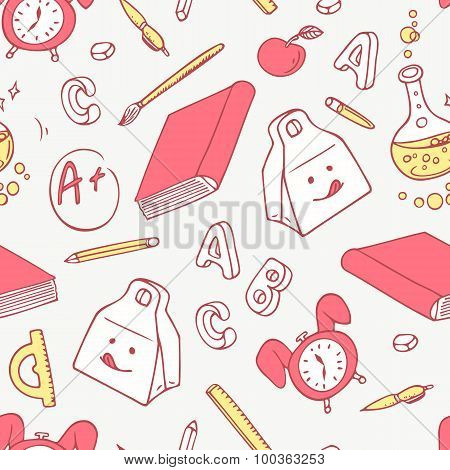 Back To School Doodle Objects Background. Hand Drawn School Supplies Seamless Pattern