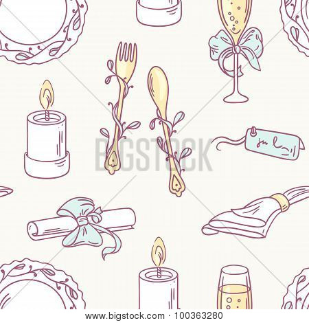 Doodle Wedding Table Decoration Seamless Pattern. Hand Drawn Celebration Background