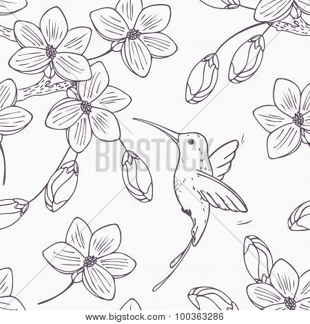 Hand Drawn Monochrome Version Of Seamless Pattern With Humming Bird Colibri And Flowers