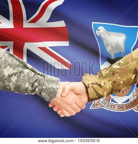 Men In Uniform Shaking Hands With Flag On Background - Falkland Islands