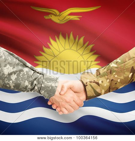 Men In Uniform Shaking Hands With Flag On Background - Kiribati