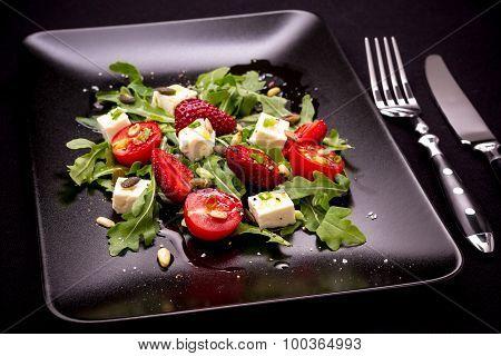 Strawberry, Tomato Salad With Feta Cheese