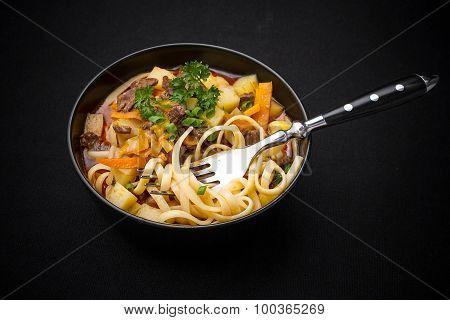 Uzbek Noodle Soup Lagman On Black