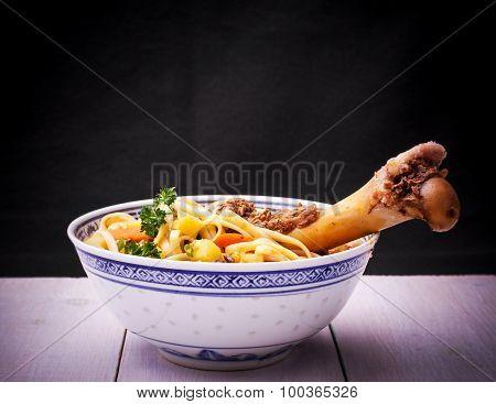 Noodle Soup Lagman With Large Bone