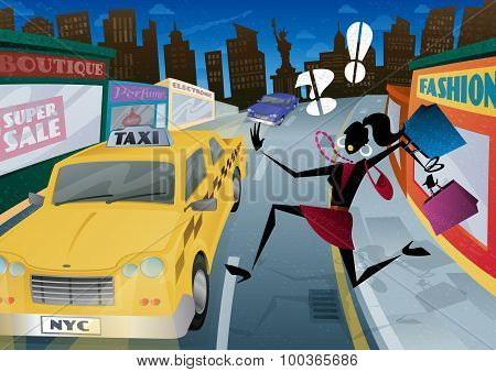 Woman Running For A Taxi In Nyc