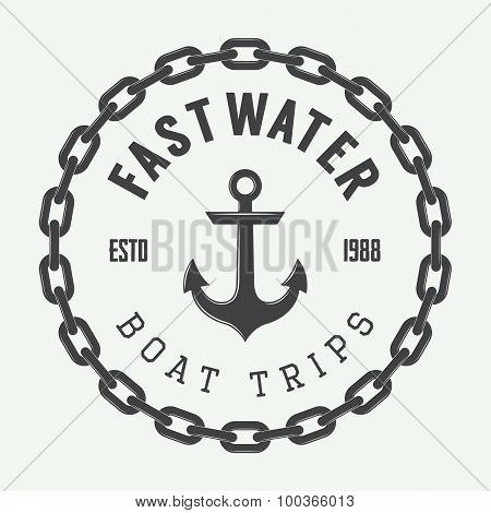 Vintage Rafting Or Boat Rental Logo, Labels And Badges.