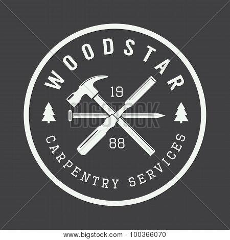 Vintage Carpentry And Mechanic Label, Emblem And Logo