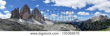 Panoramic View Of The Tre Cime Di Lavaredo Dolomites Italy