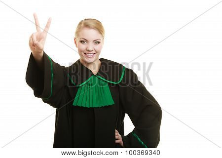 Woman Lawyer Making Victory Hand Sign